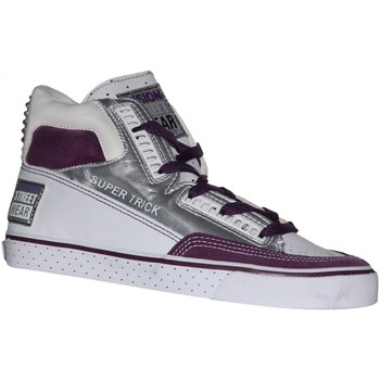 Baskets montantes Vision Street Wear samples shoes  SUPER TRICK HI SILVER WHITE