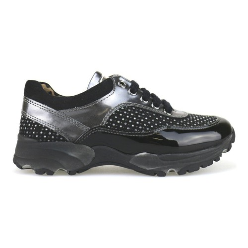 Chaussures Fille Baskets basses Nada sneakers noir daim gris cuir verni strass AH189 multicolor