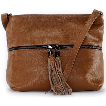 Sacs Bandoulière Oh My Bag Sac à main bandoulière en cuir femme - Modèle London cognac fonc