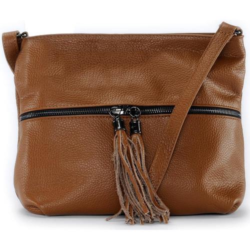 Sacs Femme Sacs Bandoulière Oh My Bag Sac à main bandoulière en cuir femme - Modèle London cognac fonc COGNAC FONCE