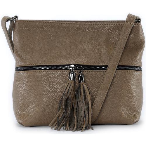 Sacs Femme Sacs porté épaule Oh My Bag Sac à main bandoulière en cuir femme - Modèle London taupe foncé TAUPE FONCE