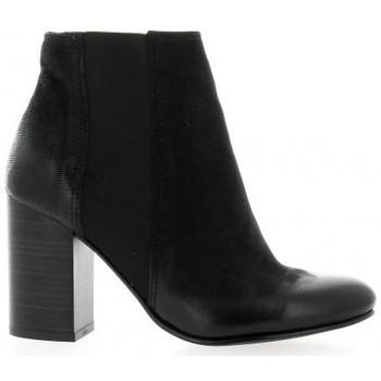 Chaussures Femme Bottines Reqins Boots cuir nubuck Noir