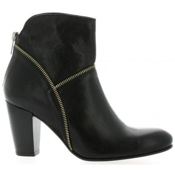 Chaussures Femme Bottines Ambiance Boots cuir Noir
