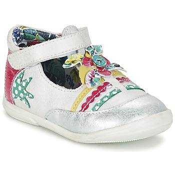 Chaussures Fille Ballerines / babies Catimini PANTHERE Blanc / Argent