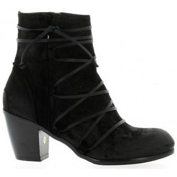 Chaussures Femme Bottines Denouée Dénouée Boots cuir velours Noir