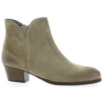 Chaussures Femme Bottines Ambiance Boots cuir velours Taupe