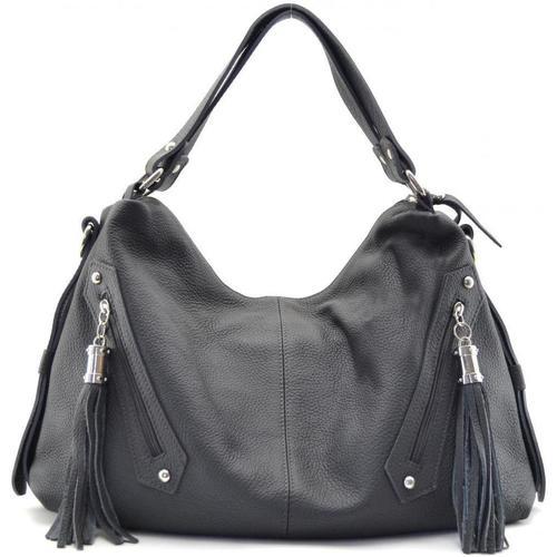 Sacs Femme Cabas / Sacs shopping Oh My Bag Sac à main cuir femme - Modèle Arizona gris foncé GRIS FONCE