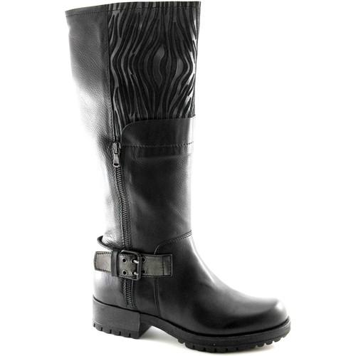 Chaussures Femme Bottes ville Café Noir CAF NOIR GH131 botte noire 3/4 femme cuir biker 2 zip boucle Nero