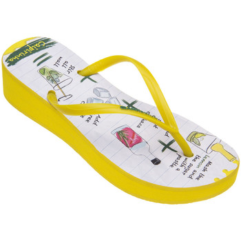 Tongs Amazonas Tongs compensées femme  Tropical Enjoy Caipirinha Jaune et Blanc