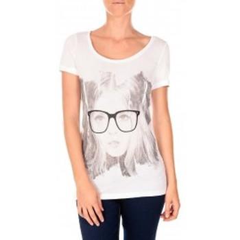 Vêtements Femme T-shirts manches courtes Vero Moda AMANDA GLASSES SS TOP blanc/noir Noir