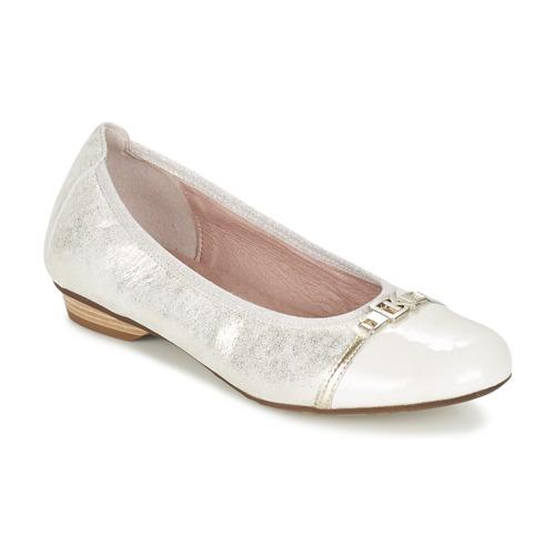 Chaussures Femme Ballerines / babies Dorking TELMA Argent / Beige
