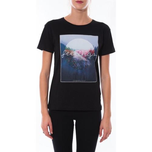 Vêtements Femme T-shirts manches courtes Coquelicot T-shirt  Noir 16423 Noir