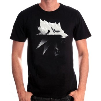 T-shirts & Polos Cotton Division Tshirt homme The Witcher 3 - Wolf Silhouette Noir 350x350