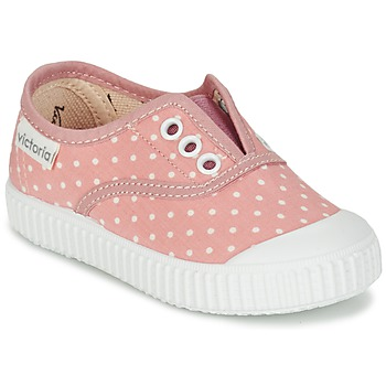 Chaussures Fille Baskets basses Victoria INGLESA LUNARES ELASTICO Rose / Blanc