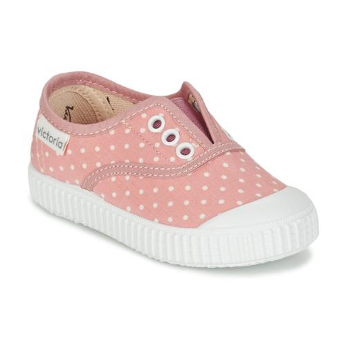 Chaussures Fille Baskets basses Victoria INGLESA LUNARES ELASTICO Rose / Blanc