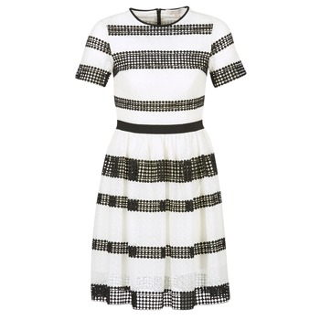 Vêtements Femme Robes courtes MICHAEL Michael Kors GRAPHIC CR STRIPE DRS Noir / Blanc