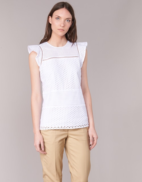 Vêtements Femme Tops / Blouses MICHAEL Michael Kors COMBO EYELET S/S Blanc