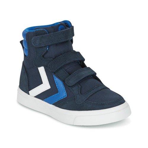 Chaussures Enfant Baskets montantes Hummel STADIL CANVAS HIGH JR Bleu / Blanc