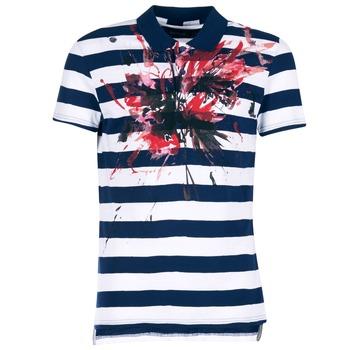 Vêtements Homme Polos manches courtes Desigual RELIRA Blanc / Marine / Rouge