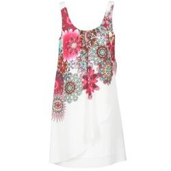 Vêtements Femme Robes courtes Desigual LIORASA Blanc / Rouge / Rose