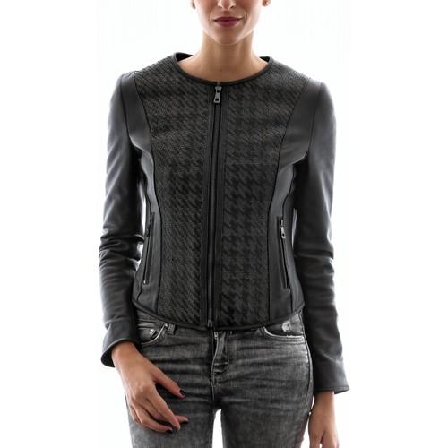 Vêtements Femme Vestes en cuir / synthétiques Intuitions Paris AF 20-5233 Noir Noir