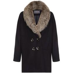 Vêtements Femme Doudounes Anastasia Manteau d'hiver dames col de fourrure Black