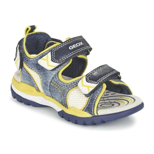 Chaussures Garçon Sandales sport Geox J BOREALIS B. D Marine / Citron