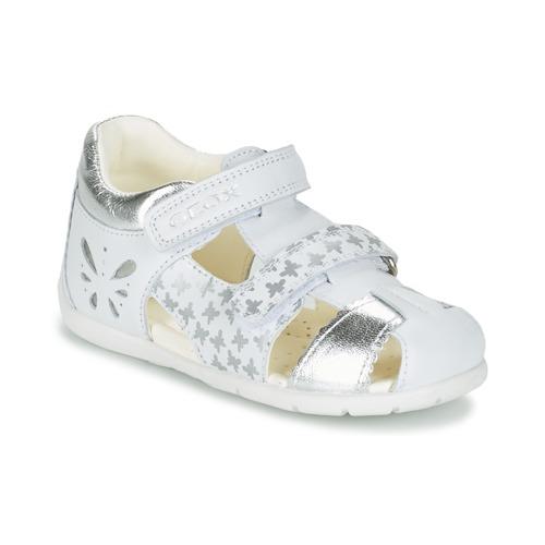 Chaussures Fille Sandales et Nu-pieds Geox B KAYTAN G. C Blanc / Argenté