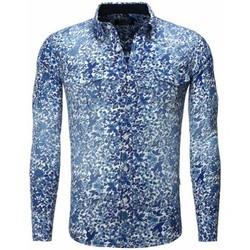 Chemises manches longues Carisma Chemise fleurie coupe ajustée Chemise 8241 bleu