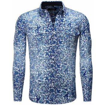 Vêtements Homme Chemises manches longues Carisma Chemise fleurie coupe ajustée Chemise 8241 bleu Bleu