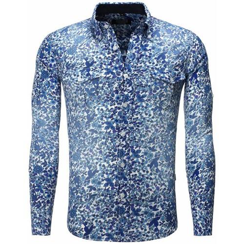 Chemises Carisma Chemise fleurie coupe ajustée Chemise 8241 bleu Bleu 350x350