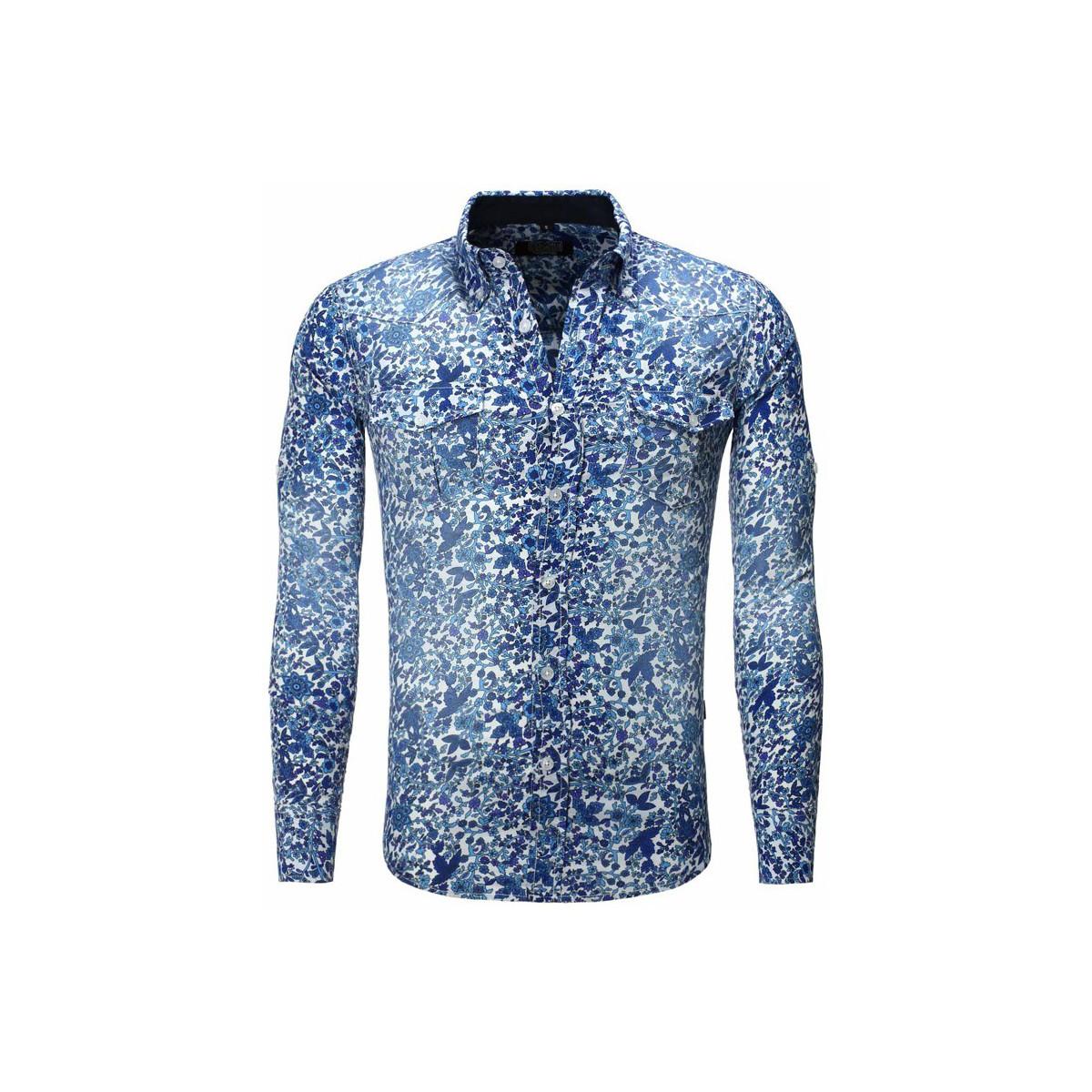 Carisma Chemise fleurie coupe ajustée Chemise 8241 bleu Bleu
