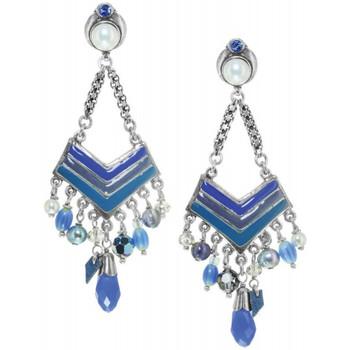 Montres & Bijoux Femme Boucles d'oreilles Franck Herval Boucles d 'oreilles  LOREEN *clips 'V' & pampilles 11--61744 Bleu