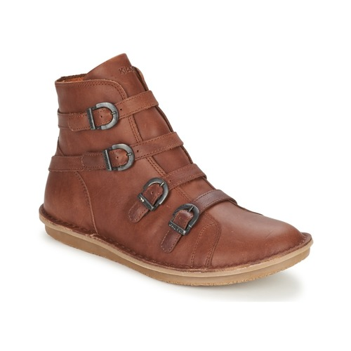 Chaussures Femme Boots Kickers WAXING Camel