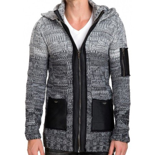 Pulls & Gilets Beststyle Gilet homme long capuche Gris 350x350