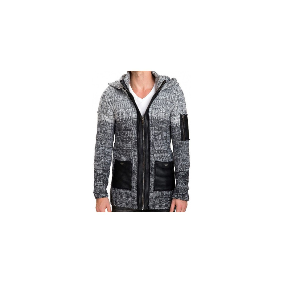 Beststyle Gilet homme long capuche Gris