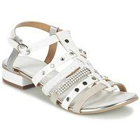 Chaussures Femme Sandales et Nu-pieds Café Noir CAFOUT Blanc / Argent