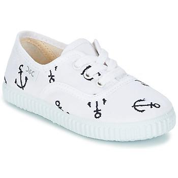 Chaussures Enfant Baskets basses Citrouille et Compagnie KIPPI BOU Blanc / Bleu