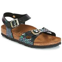 Chaussures Enfant Sandales et Nu-pieds Birkenstock RIO Noir brillant / Serpent