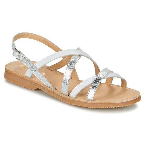 Chaussures Fille Sandales et Nu-pieds Citrouille et Compagnie GENTOU Blanc / Argenté