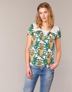 Vêtements Femme Tops / Blouses Naf Naf E-ANANAS Blanc / Vert / Jaune