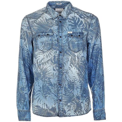 Vêtements Homme Chemises manches longues Guess Chemise en Jean Connor Bleu