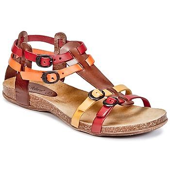 Chaussures Femme Sandales et Nu-pieds Kickers ANA Marron / Rouge / Orange