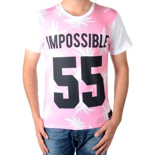 T-shirts & Polos Celebry Tees Tee Shirt  Palme 55 Blanc / Rose Blanc 350x350