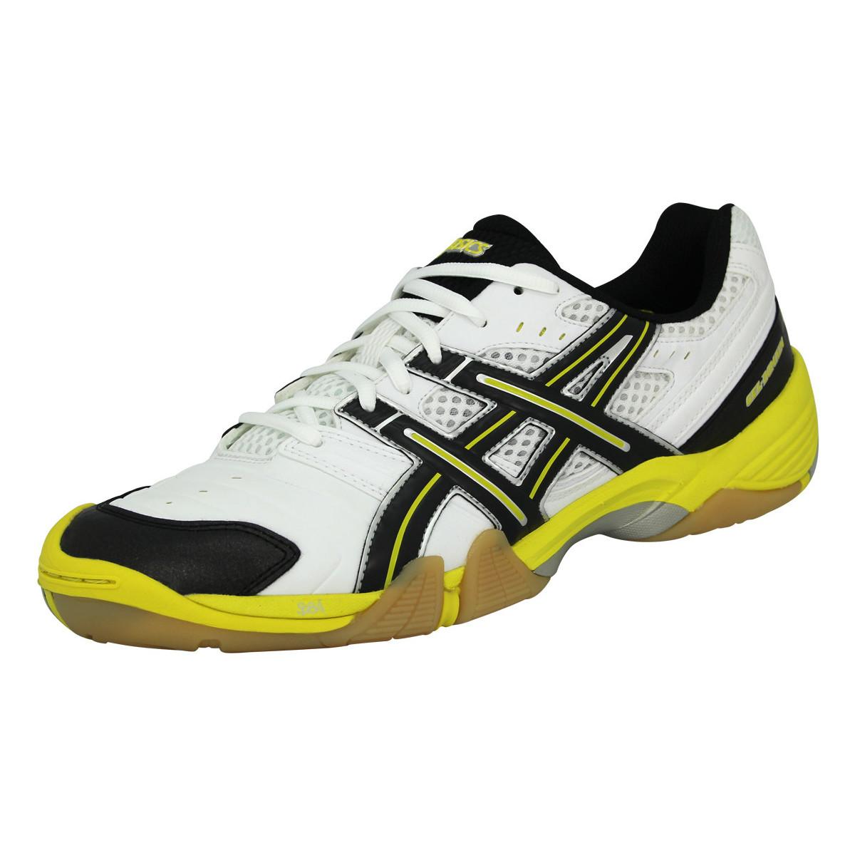 Asics GEL DOMAIN Chaussures de Handball Homme Blanc Noir Jaune blanc
