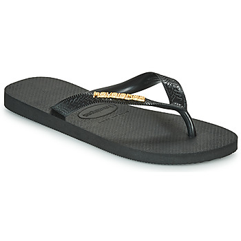 Chaussures Femme Tongs Havaianas TOP LOGO METALLIC Black / Gold