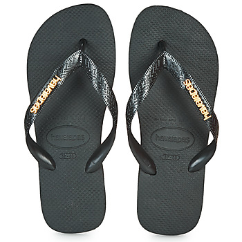Chaussures Femme Tongs Havaianas HAVAIANAS LOGO METALLIC Black / Gold