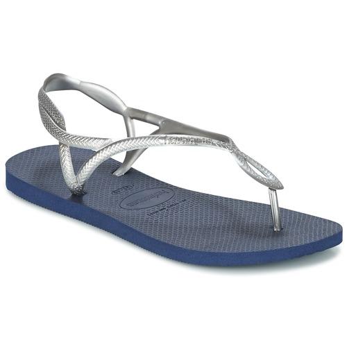 Chaussures Femme Tongs Havaianas LUNA Argenté / Bleu