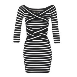Vêtements Femme Robes courtes Morgan RBEST Noir / Ecru