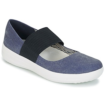 Chaussures Femme Ballerines / babies FitFlop FSPORTY MARY JANE CANVAS MIDNIGHT NAVY